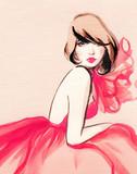 beautiful woman. fashion illustration. watercolor painting - 234922870