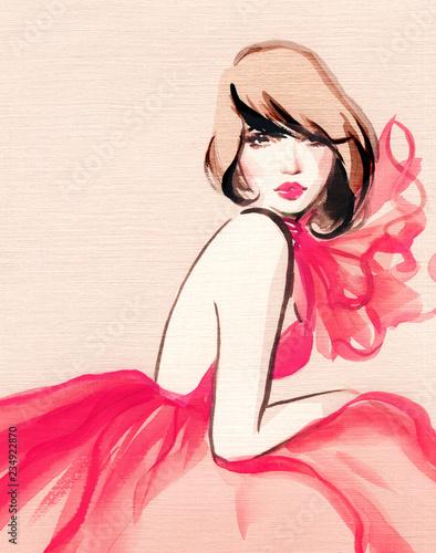 śliczna kobieta. ilustracja moda. Malarstwo akwarelowe