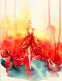 beautiful woman. fantasy illustration. watercolor painting - 234924021