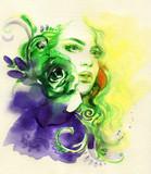 beautiful woman. fantasy illustration. watercolor painting - 234924259