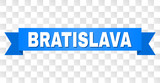 BRATISLAVA text on a ribbon. Designed with white caption and blue stripe. Vector banner with BRATISLAVA tag on a transparent background.