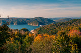 Solina Lake, Bieszczady, Poland. Views from hill to lake in sunny autumn day