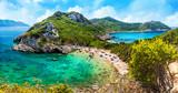 Wild blue lagoon of Porto Timoni beach, Corfu island, Greece