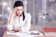 Businesswoman sitting at the table with many papers in office - 234990627