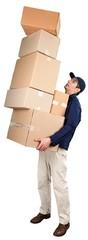 Deliveryman Carrying Pile of Boxes © BillionPhotos.com