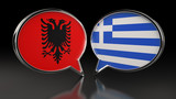 Albania and Greece flags with Speech Bubbles. 3D illustration