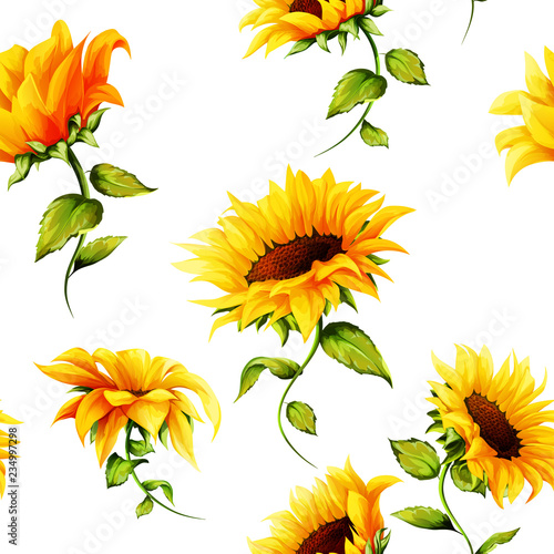 Seamless pattern of sunflowers on white. Hand drawn. Watercolor. Vector - stock - 234997298