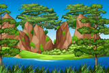 Rock mountain in nature landscape © blueringmedia
