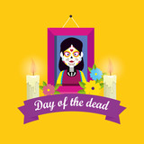 picture with candles and flowers to day of the dead