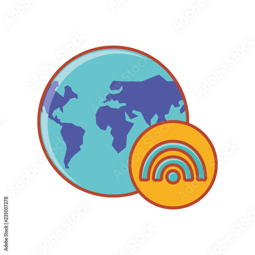 earth planet with wifi symbol