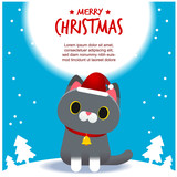 Vector cute cat character wearing Santa Claus hat, Merry Christmas card © GuGGGar