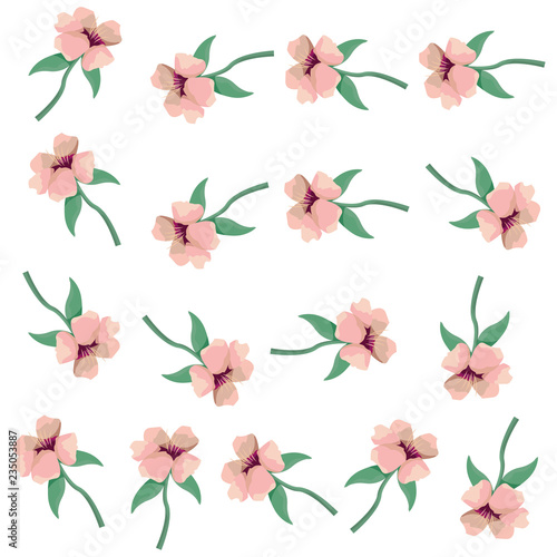 flowers leaves decoration pattern background - 235053887
