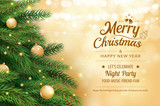 Christmas greeting card with tree and gold blur bokeh lights background. Xmas and happy new year. Vector illustration for cover, banner, template. © kaisorn