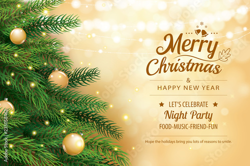 Christmas greeting card with tree and gold blur bokeh lights background. Xmas and happy new year. Vector illustration for cover, banner, template.