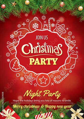 Merry Christmas Party Gift Box And Tree On Red Background Invitation