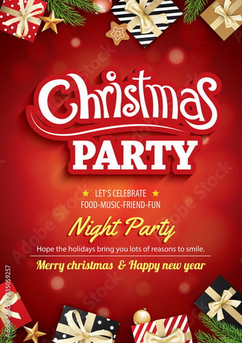 Merry christmas party and greeting card on red background invitation theme concept. Happy holiday design template.