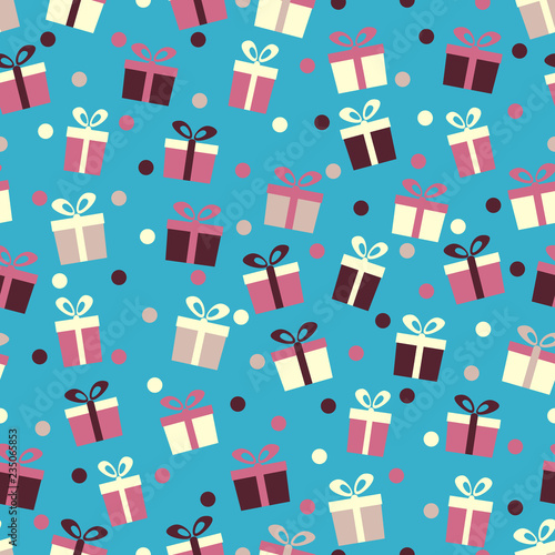 Seamless pattern with the image of gift boxes and confetti. - 235065853