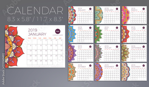 Calendar 2019 with mandalas