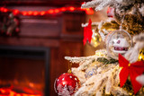 Decorated Christmas tree on blurred, sparkling and fairy background. Merry Christmas.