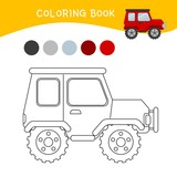 Coloring book for children. Cartoon jeep.