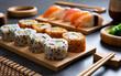 Sushi set on bamboo plate