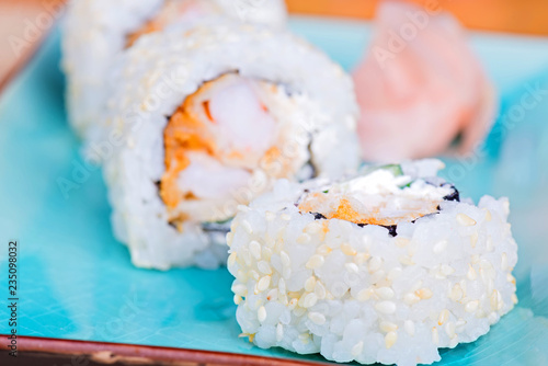 California maki sushi with tempura shrimp