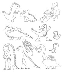 Dinosaurs coloring book. Coloring book dinosaur. Black and white page for coloring. Fantasy drawing of funny dinosaurs. Worksheet for children and adults. Vector image.