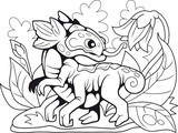cartoon cute flower dragon, coloring book, funny illustration © fargon