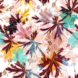 Floral vector pattern with autumn colorful foliage - 235111447