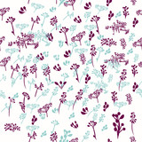 Rustic floral pattern in blue and purple color - 235111492