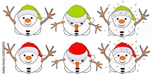six snowmen seen from above