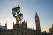 London UK. Big Ben and houses of Parliament at sunset.