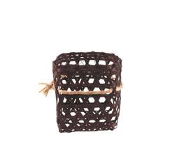 Bamboo basket hand made isolated on white background.