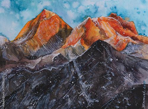 fototapeta na ścianę acquerello monte inverno cima Everest