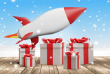 christmas presents rocket 3d rendering