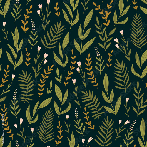Dark green seamless pattern with night  herbs and flowers. Romantic floral background. Fabric design. Vector illustration. © Utro na more