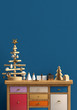 Modern Christmas interior with dresser and Christmas tree, Scandinavian style. Wall mock up. 3D illustration - 235153272