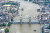 Aerial view of Tower Bridge, London from helicopter