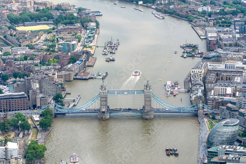 fototapeta na ścianę Aerial view of Tower Bridge, London from helicopter