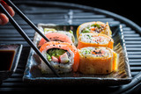 Tasting sushi set made of fresh vegetables and seafood © shaiith