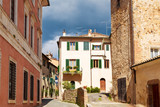 Street in the town of San Quirico d'orcia, Tuscany, Italy