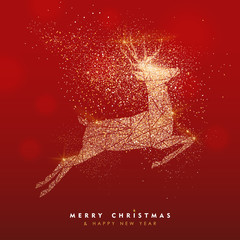 Merry Christmas gold deer glitter greeting card © cienpiesnf