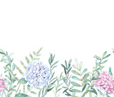Watercolor seamless  pattern with eucalyptus branch, fern and hydrangea. Hand drawn botanical illustration. Floral background - 235178669