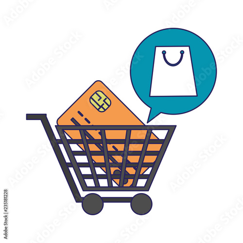 Shopping cart with credit card blue lines