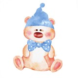 Cartoon Teddy Bear toy in hat. Watercolor style © Gribanessa