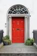 Red door on a townhouse in Dublin, Ireland - 235191672