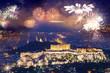 fireworks over Athens, Acropolis and the Parthenon, Attica, Greece - New Year destination