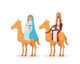 virgin mary and saint joseph with camel - 235202469