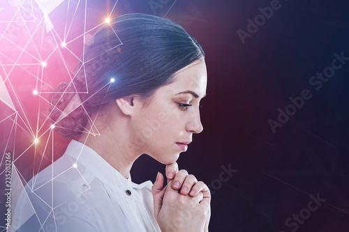Leinwandbild Motiv Pensive businesswoman, network interface