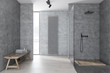 Leinwandbild Motiv Gray bathroom with shower